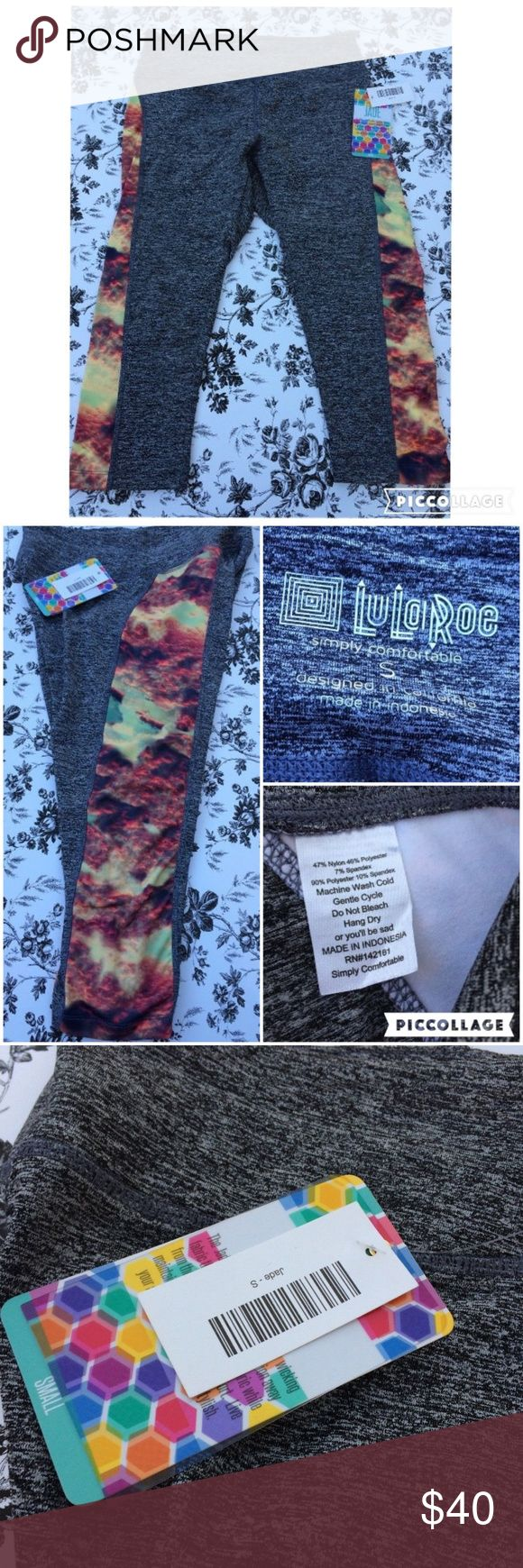 Lularoe Jade Workout Leggings Gray This is a beautiful pair of Lularoe Jade workout leggings.  Gray with multi colored side panel. Beautiful print resembling clouds and mountains.  Size Small  New with tags!   UID3447 LuLaRoe Pants Leggings