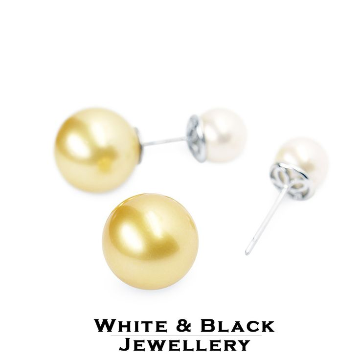 Kétoldalas déltengeri gyöngy betűzős fülbevaló - Double sided south sea pearl earrings