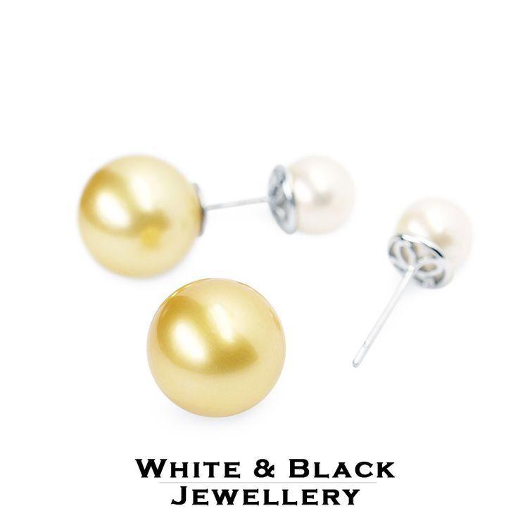 Kétoldalas déltengeri gyöngy betűzős fülbevaló - Double sided south sea pearl earrings