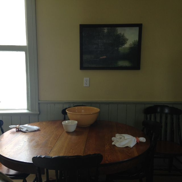 Kitchen walls painted in Hay - No. 37, wainscoting and all trim painted in French Gray - No.18