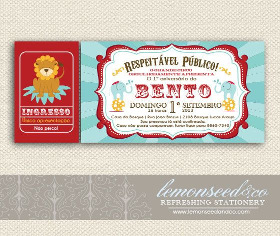 Printable DIY Circus Birthday in Foreign Languages, Circus Baby Shower, Carnival Invitations, Circus Invitations Ticket Invitation on Etsy, R$78,53