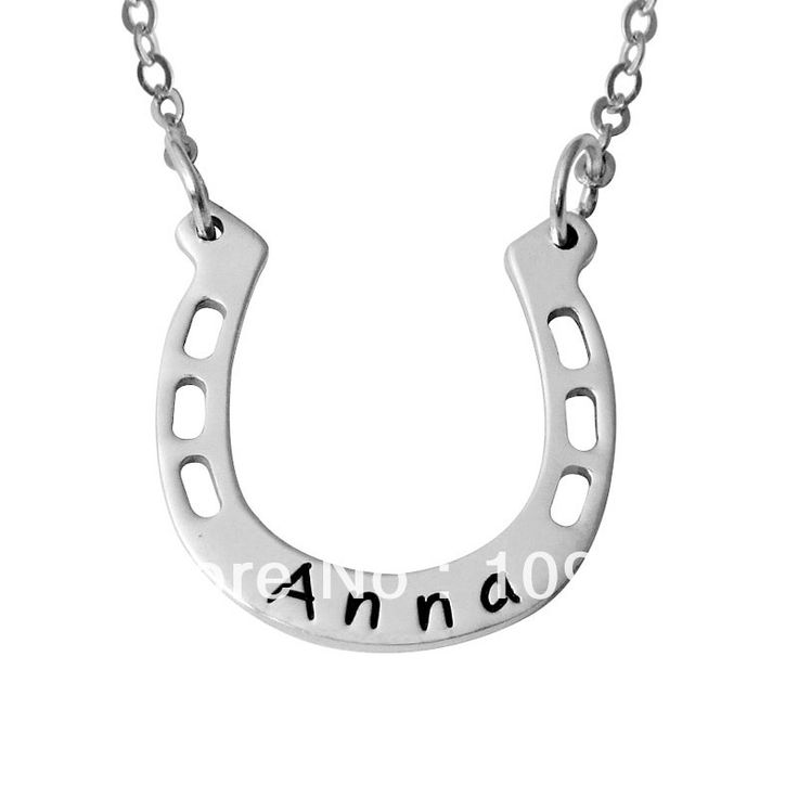 Personalized Horseshoe Necklace,Hand Stamped Necaklace,Good Luck Engraved Name Necklace,Alloy Horseshoe Necklace $12.99 free shipping