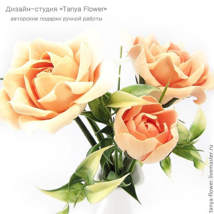 Купить Букет садовых роз (персиковый) - цветы, цветы ручной работы, цветы из полимерной глины