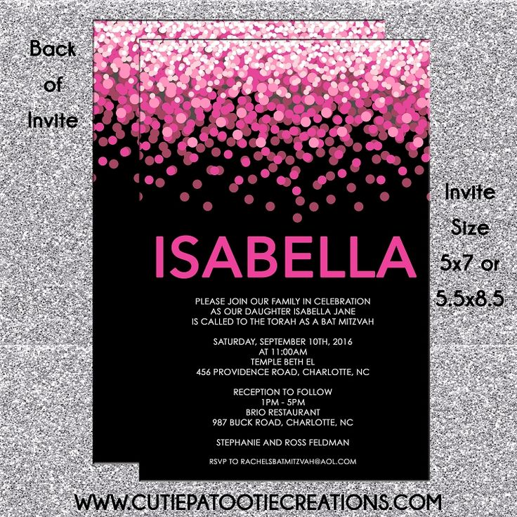 Hot Pink and Black Confetti Bat Mitzvah Invitations