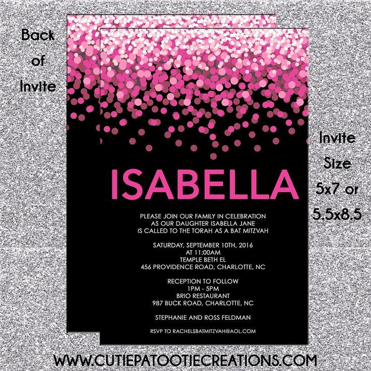 Hot Pink and Black Confetti Bat Mitzvah Invitations