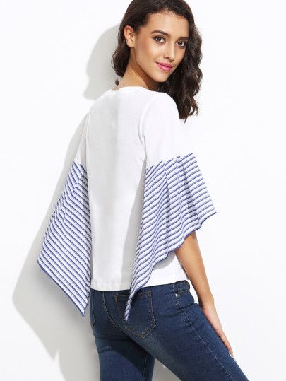 Shop White Striped Asymmetric Bell Sleeve Top online. SheIn offers White Striped Asymmetric Bell Sleeve Top & more to fit your fashionable needs.
