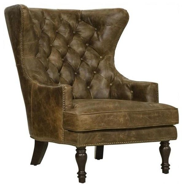 Leather Tufted Chair In Cocoa Brompton | Nebraska Furniture Mart ($980) ❤  Liked On