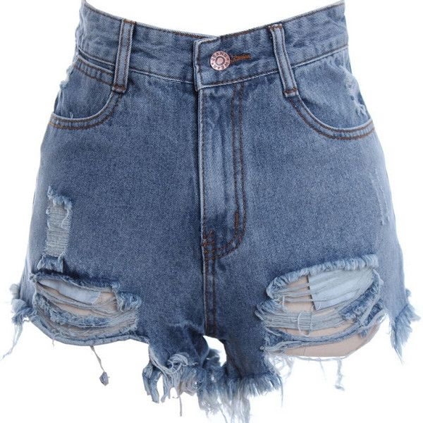 Distressed Acid Wash High Waist Cut-Off Shorts ❤ liked on Polyvore featuring shorts, bottoms, jeans, short, high-rise shorts, high-waisted shorts, cut off short shorts, ripped shorts and high rise shorts