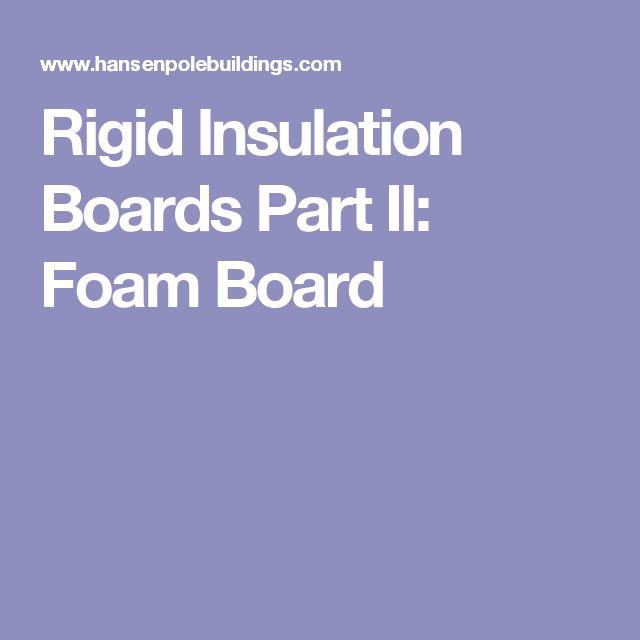 Rigid Insulation Boards Part II: Foam Board
