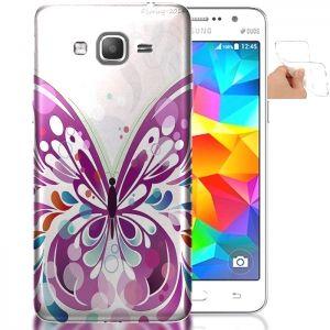 Coque pas cher Galaxy Grand Prime Papillon Rose | Housse Silicone. #GrandPrime #SamsungGalaxy #Coque #Papillon #Butterfly