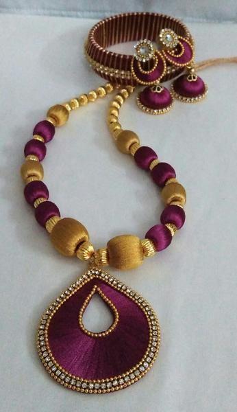 Magenta and Golden Silk Thread Full Set