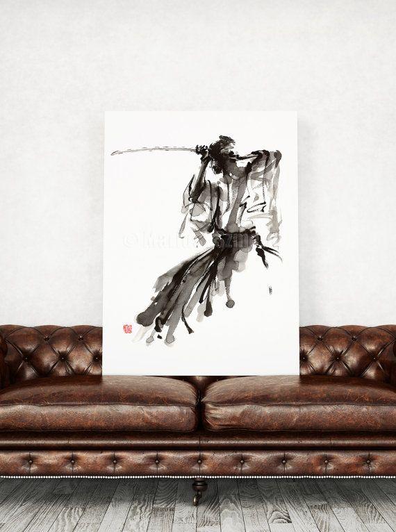 Lanima del Samurai arte, pittura astratta giapponese, Giappone calligrafia stile opera darte, codice del Bushido, spada del Samurai, Poster di oggettistica per la casa, Idea regalo  Tipo di carta: Stampe fino a (45x30cm) 12 x 18 pollici dimensioni vengono stampati su 200 g/m2 strutturato bianco sporco Fabriano acquerello carta e conserva laspetto del dipinto originale. Stampe più grandi sono stampate su carta manifesto bianco 180g/m2 con nessuna struttura. Siete pregati di notare ch...
