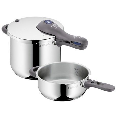 WMF Perfect Plus 6.5/3.0 qt. Pressure Cooker Set | Take some pressure off this holiday season! Pressure cooking is an efficient way to tenderize cuts of meat that, well, didn't cost too much at the grocery.