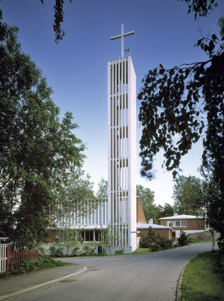 The Puistola church, completed in 1960, is one of the six churches of the Malmi parish. Because the bell tower cross is illuminated, for air traffic, the church has also been called the church of the burning cross.