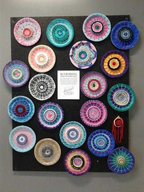 Gemaltes Papier Teller Garn Weben | Webprojekte für Kinder | Kunstideen für Ki…
