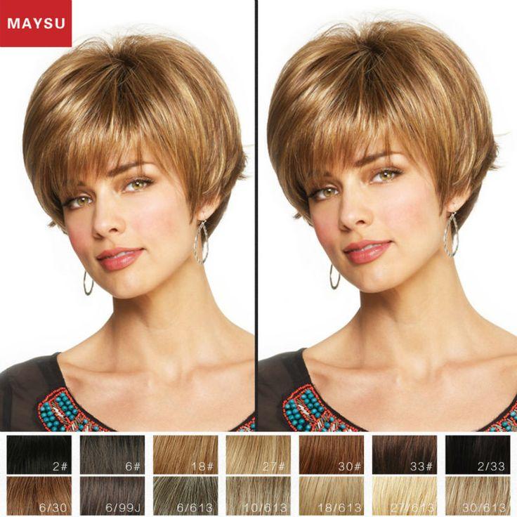 Kurz Menschliches Haar Perücken Für Frauen Elegante MAYSU Geneigte Bang Klassische Brasilianisches Reines Haar Blonde perücke Capless Europäischen Stil