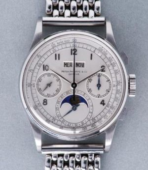 Patek Philippe in Stainless steel ref.1518. Sold at auction for $11,112,000.