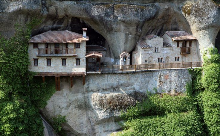 The Monastery Of Ypapanti Built Inside The Rocks Of