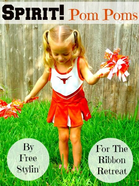 How to make Spirit Pom Poms...great for a little cheerleader, but can also work for parents whose child is in the game or in the band. You can personalize the ribbons for your team! www.freestylinbeth.com