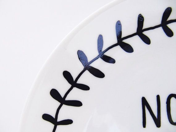 Nom Nom Nom Hand-Decorated Small Side Plate by LilyLovesShopping