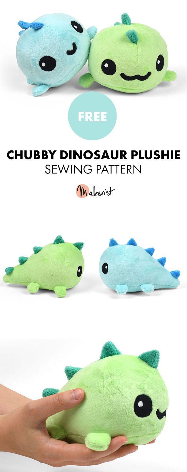 Tiny Chubby Dinosaur Plush Toy - Free Sewing Patterns via Makerist.com