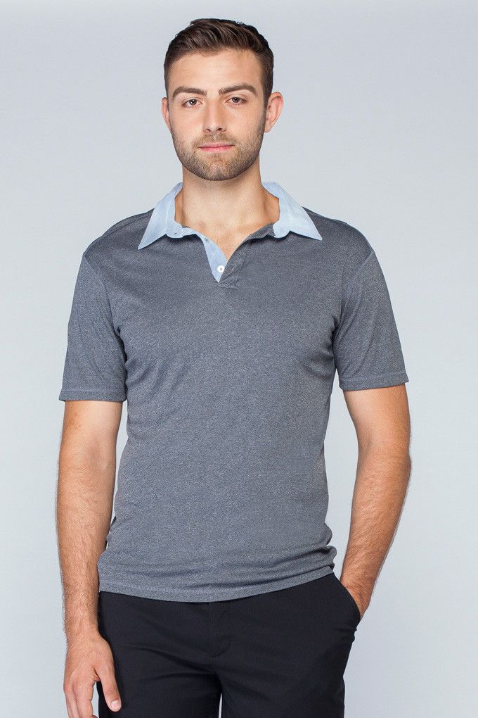 Noel Asmar Uniforms, Men's Woven Collar Polo in Charcoal Mix.