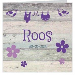 Meisjes #geboortekaartje met #paarse bloemetjes en een #waslijn en oud steigerhout. Maak het jouw eigen kaartje door het aan te passen met eigen tekst en bijpassende afbeeldingen uit onze beeldenmap op www.babyboefjes.nl. Direct het kaartje bewerken: http://www.babyboefjes.nl/geboortekaartje-01-1-0357c.html