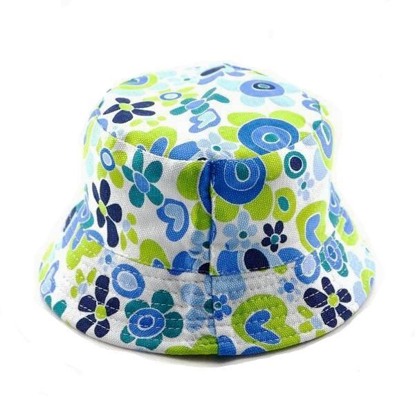 Children's Summer Green and Blue Floral Bucket Hat