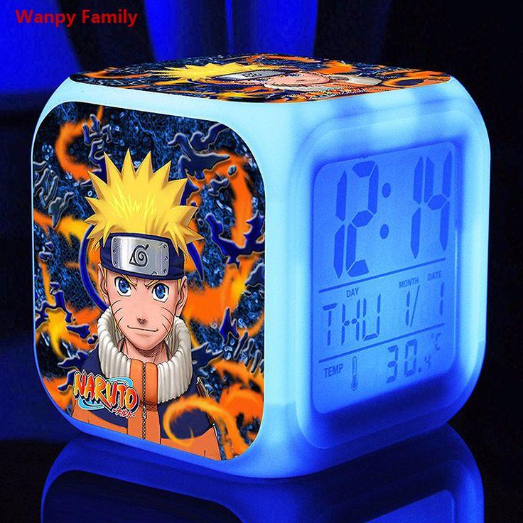3d Anime Ninja alarm Clocks,Glowing LED color change Digital Alarm Clock For kids Multi-function toy alarm clocks