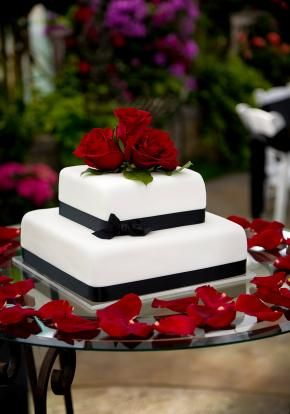 Wedding cake + one or two tiers - the flowers and pink ribbon instead of black = Simple and Sweet.