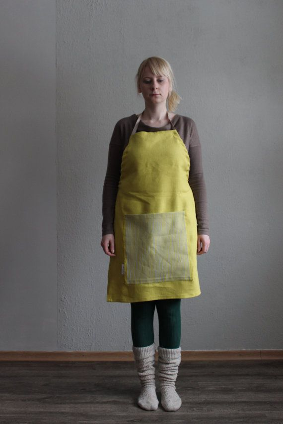 BAMBOO Apron Burned Yellow by LEMPIDESIGN on Etsy, $40.00