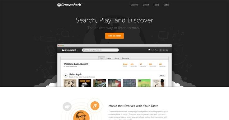 New Grooveshark / matt.brothers / #grooveshark #grey #clean #orange