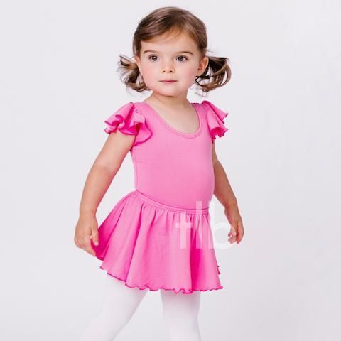 Shea: size 8 BRIGHT HOT PINK Leotard with Flutter / Ruffle Sleeve Toddler and Girls – The Leotard Boutique