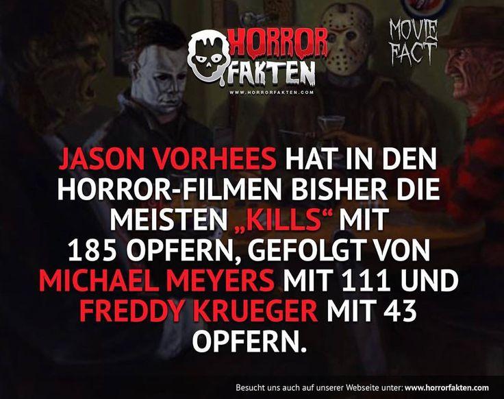 ❝Habt ihr euch schon mal gefragt wie viel Menschen die Horrorfilm Figuren umgebracht haben? Die KDA ist hammer :D ❞  #horrorfakten