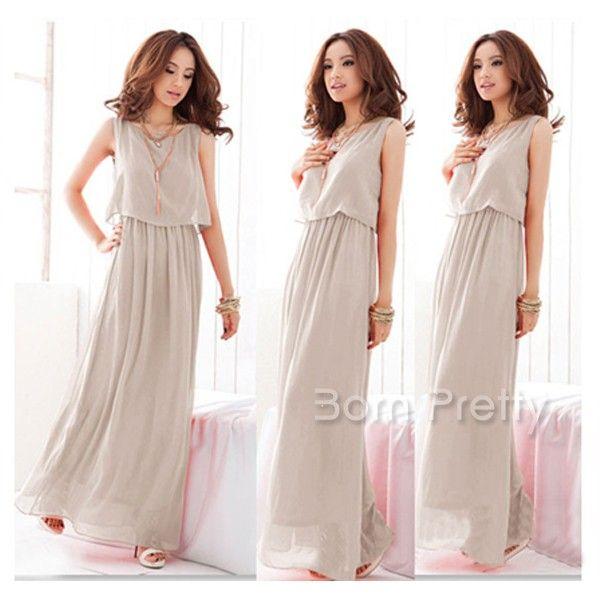 $15.72 Boho Dress Round Neck Pure Color Dress - BornPrettyStore.com