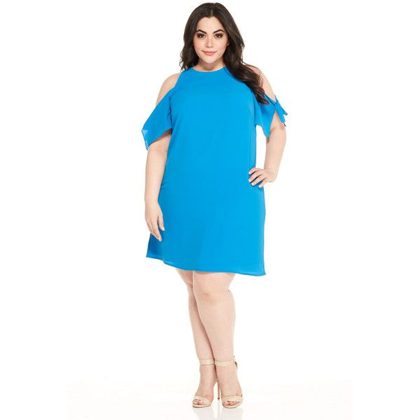 Maggy London London Times Curve Nicole Shift ($78) ❤ liked on Polyvore featuring plus size women's fashion, plus size clothing, plus size dresses, blue, plus size, plus size slip, white shift dress, slip dress, white day dress and plus size day dresses