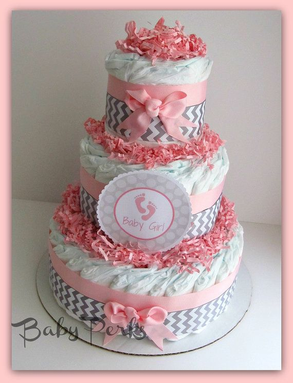 Pink and Grey Baby Shower  Pink and Grey Safari Diaper Cake