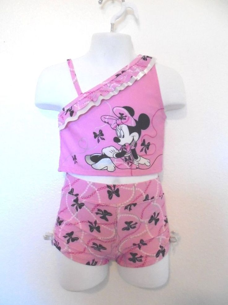 Disney - Pink/Silver MINNIE MOUSE One Shoulder Tankini Swimsuit Lined Girls 2T #Disney #TwoPiece