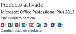 Captura de pantalla: Programas activados con la licencia Professional Plus