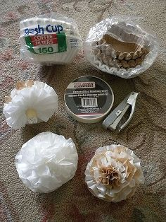 wedding decor on a dime er dollar tree that is see blog link, home decor, Easy Coffee Filter Flowers