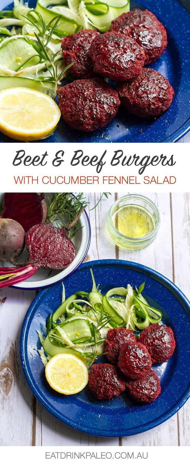 Beetroot and Rosemary Beef Burgers   Paleo, Whole30, Gluten-free Recipe Via http://eatdrinkpaleo.com.au/rosemary-beetroot-burgers-recipe/