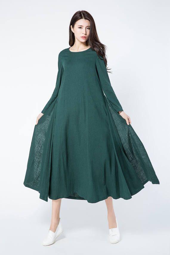 donker groene linnen jurk groene jurk lange linnen tuniek
