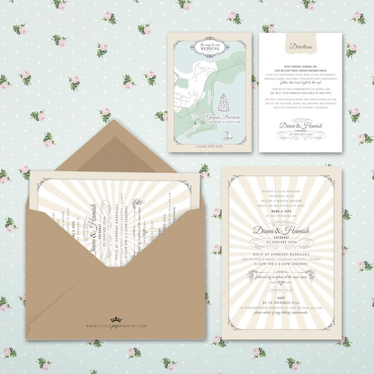 A5 retro wedding invitation with cream starburst pattern and a recycled kraft envelope. Custom designed map for Gunner's Barracks Sydney.