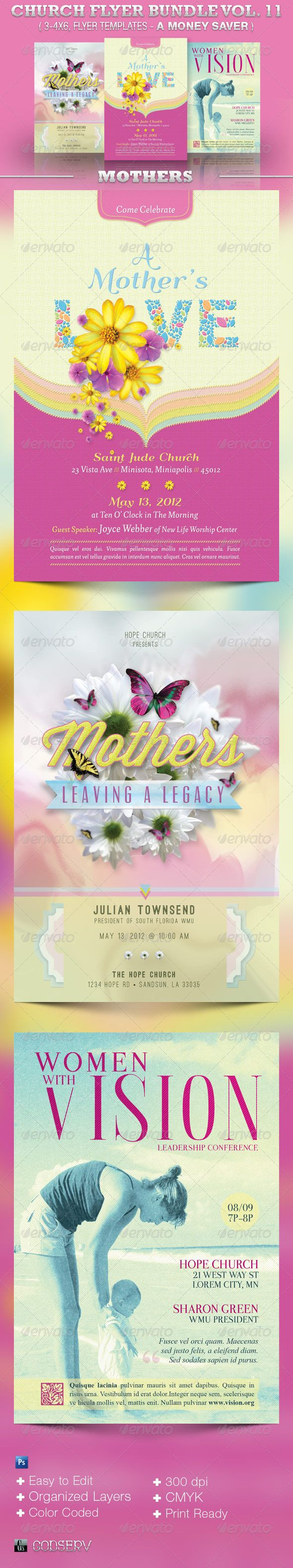 1000 images about print templates fonts flyer church flyer template bundle volume 11 mothers graphicriver the church flyer template bundle vol