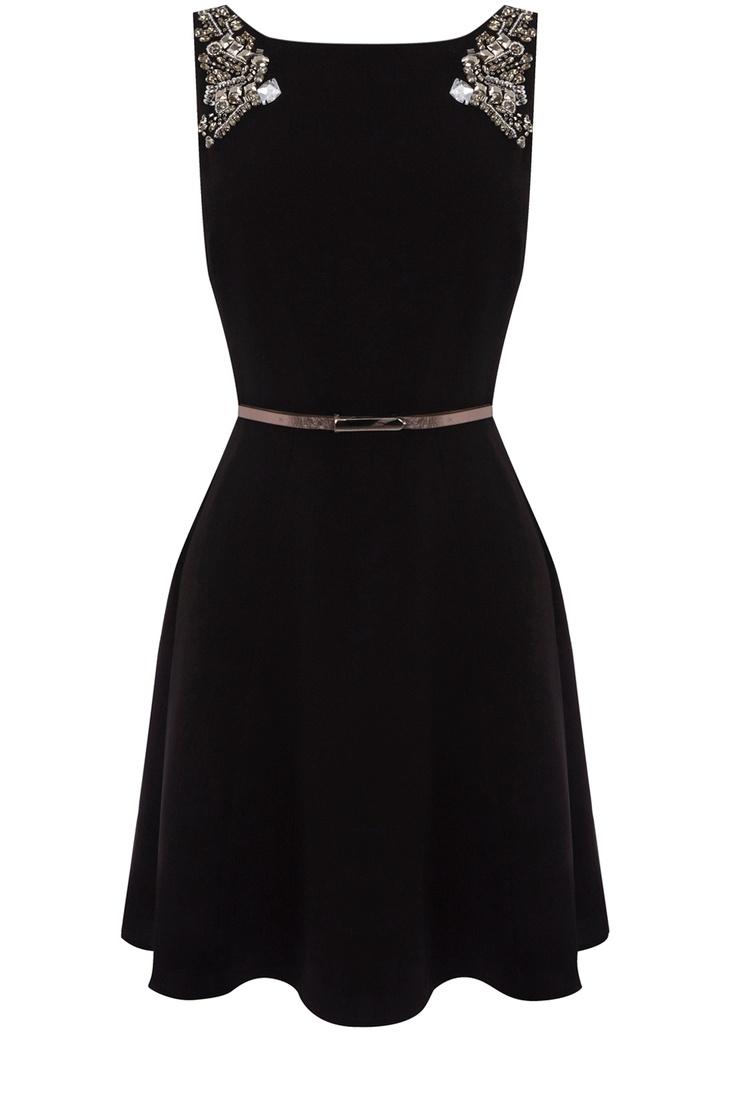 Oasis Clothing | Black Lucia Embellished Dress