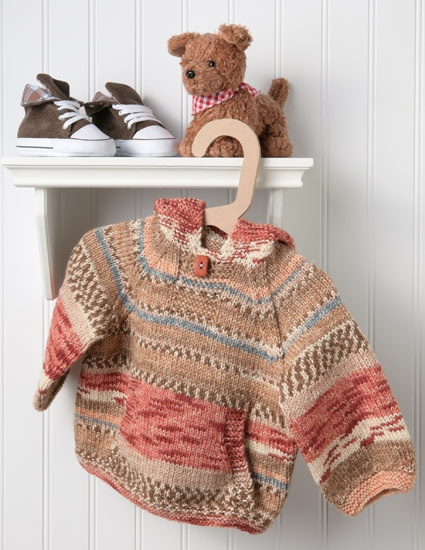 A sweet, simple hoodie for little boys--knit in the round with self-striping yarn.