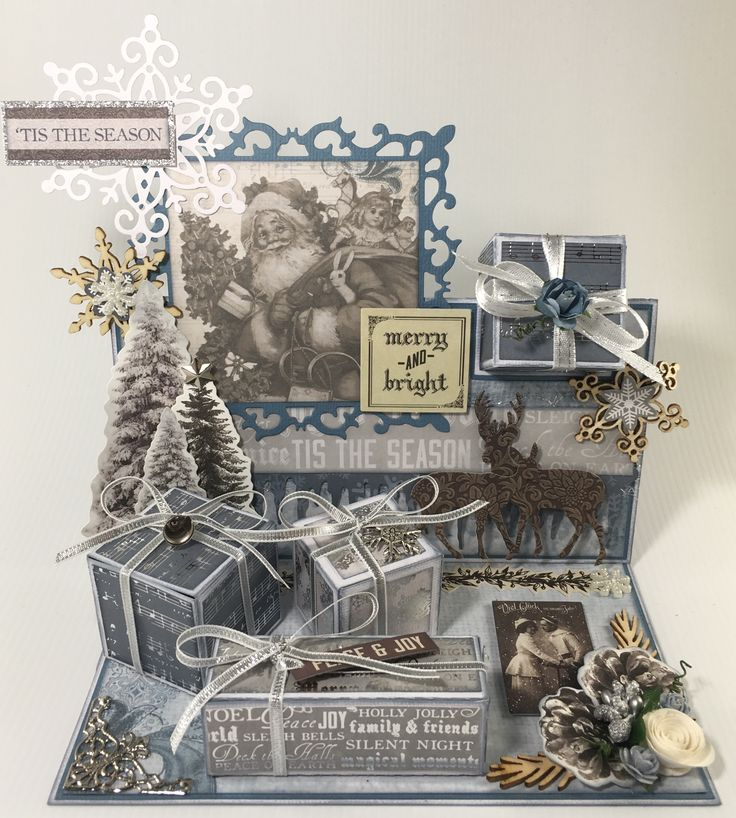 Present easel Christmas card. Using Kaisercraft frosted paper collection. Created by Angie