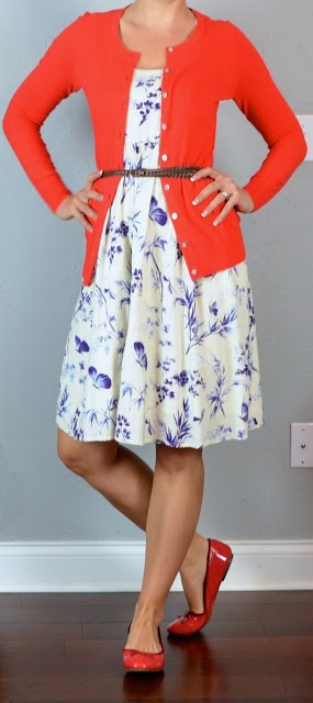 outfit post: purple floral dress, red cardigan, red ballet flats   coral everywhere this spring.   Cute!