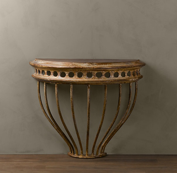 Cast Iron Demilune Console Table: Restoration Hardware, Side Tables, Console Table, Consoles Tables, Iron Demilun, Iron Consoles, Decoration Idea, Demilun Consoles, Cast Iron