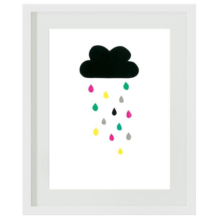 Rainbow Raindrops: #girls #rainbow #rain #clouds #pink #green #yellow #bedroom #tween #wallart #artprint